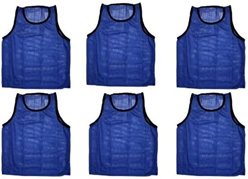 WORKOUTZ YOUTH SCRIMMAGE VESTS BLUE CHEAP SOCCER PINNIES MESH BIBS 6 QTY