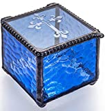 J Devlin Box 709-3 Etched Cross Keepsake Box Christening, Baptism, First Communion Confirmation Gift Rosary Blue Glass Jewelry Box