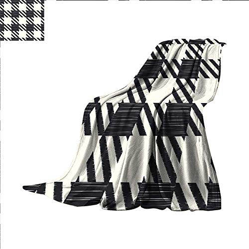 (Checkered Cotton Blanket Diagonal Stripes and Squares Monochrome Sketchy Geometric Grid Revival Tile Sand Free Beach Blanket 70 x 60 inchBlack and)
