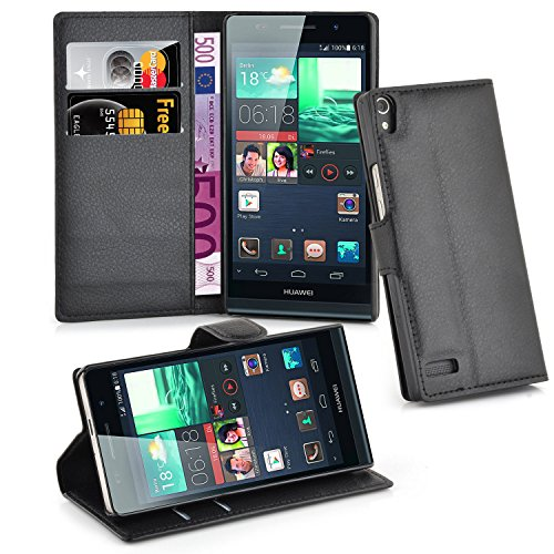 Cadorabo Case works with Huawei P6 Book Case in OXID BLACK  with Magnetic Closure, Stand Function and Card Slot  Wallet Case Etui Cover PU Leather Flip