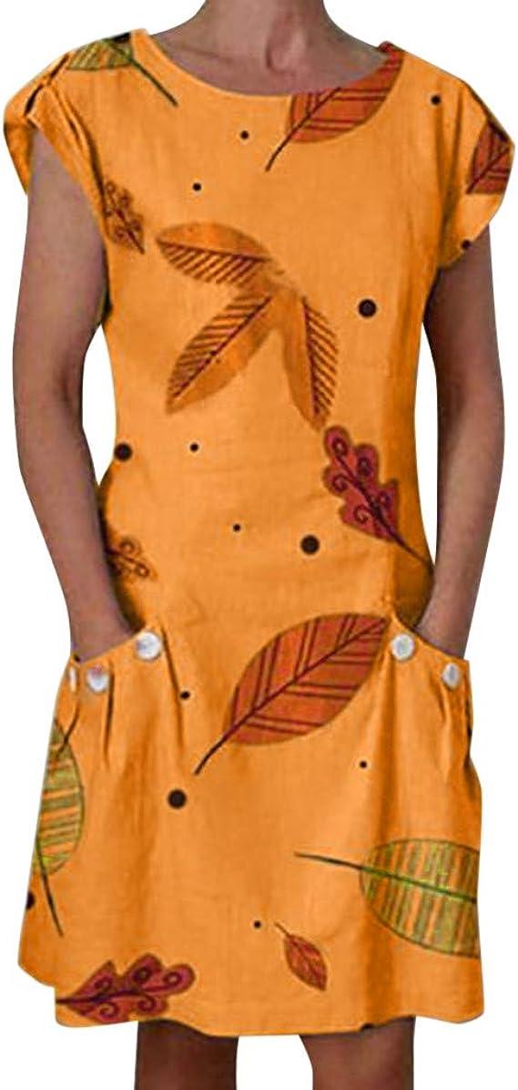 Aini Vestidos Mujer Cortos Vestido De Moda Verano Vestido De Manga Corta con Cuello Redondo Vestido Estampado De Bolsillo Mini Vestido De Playa Vestido Estampado De Hojas Vestido Suelto Ocasionales: Amazon.es: Ropa