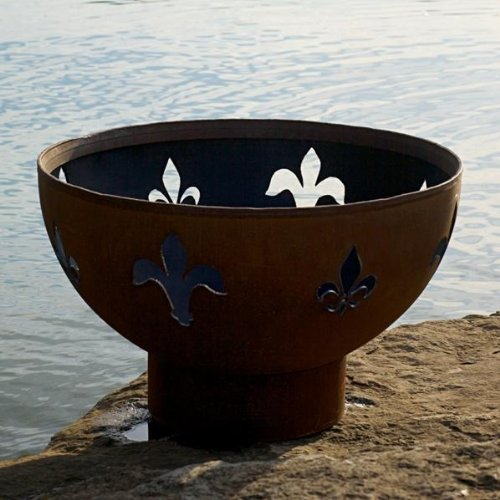 Fleur de Lis Fire Pit Fuel Type Wood Burning, Ignition Wood Burning
