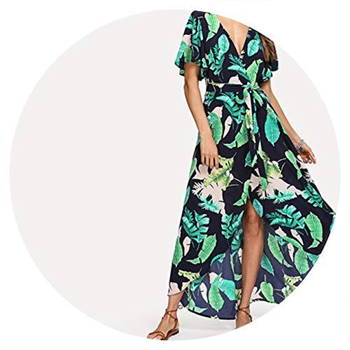 - Boho Bohemian Jungle Leaf Print Self Belted Wrap High Waist Maxi Dress Women Sexy Dress,Multi,L