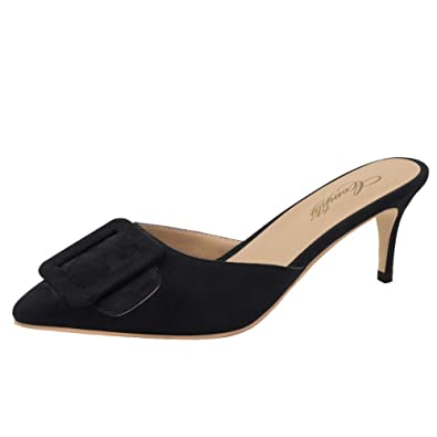 63261f1334a Comfity Mule Slippers for Women,Pointed Toe Slides Buckle Kitten Heels  Backless Dress Sandals