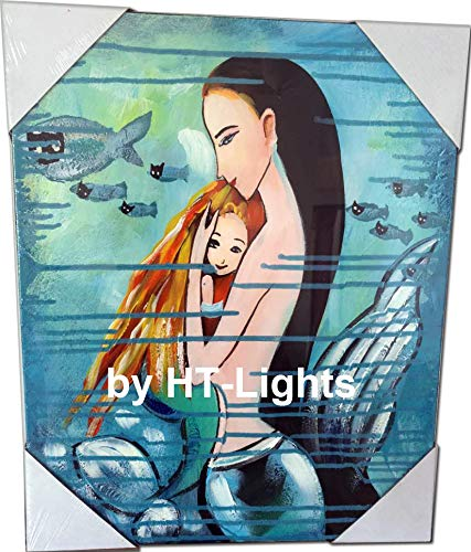 - HT-Lights Modern Art The Little Mermaid Hand Painted Oil Painting Stretched The Canvas Over a Wooden Frame Wall Art 16