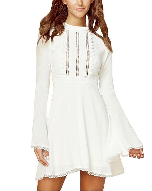 Mujer Vestido de Fiesta Cortos Trompeta Mangas Fiesta de Noche Vestidos Tops Blanco S