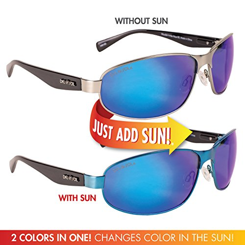 Solize Color-Changing Polarized Sunglass by Del Sol - Lifetime Protection Against Theft, Loss or Damage (Wouldn't It Be Nice - Silver to Blue, Del Sol Revo - Nice Glasses Sun