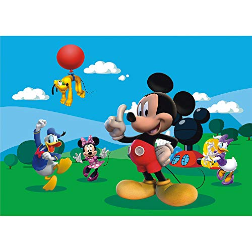 Mickey Scene Setter (Happy Birthday Backdrop Photography 7x5ft Vinyl Photo Background Mickey Mouse Clubhouse Backdrop Green Amusement Park Backgrounds Baby Shower Wall)