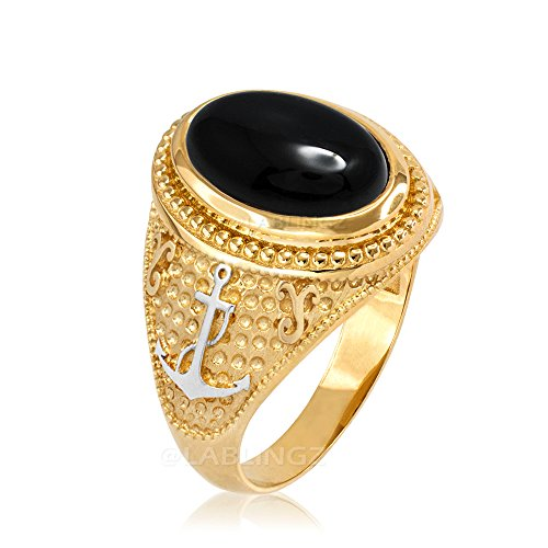 10K Two Tone Yellow Gold Marine Anchor Black Onyx Gemstone Ring