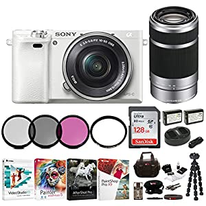 Sony Alpha a6000 Mirrorless Camera w/16-50mm & 55-210mm Lenses & 128GB Bundle - White