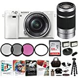 Sony Alpha a6000 Mirrorless Camera w/16-50mm & 55-210mm Lenses & 128GB Bundle (White)
