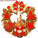 New Christmas Wreath Hanging Pendant Decor Window Door Ceiling Decorations Christmas Tree Ornament Wall Decals Wreath