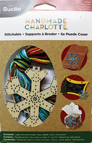 Bucilla Wood Stitchable Shapes Kit, 3 by 3-Inch, 86500 Snowflake