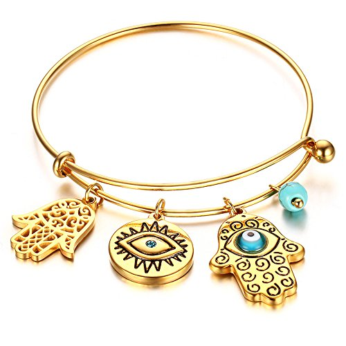 BEMI Vintage 18K Gold Hamsa Turkey Turquoise Blue Eyes Charms Bangles Fatima's Hand Bracelets for Women Eyes