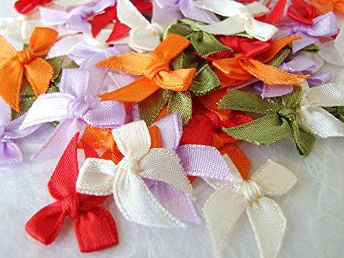 100 Mixed Satin Ribbon Bows Mini Embellishment Craft Artificial Applique Wedding