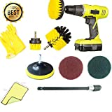 9 Piece Drill Scrub Kit Drill Brush Set with Extender Household Gloves Cleaning