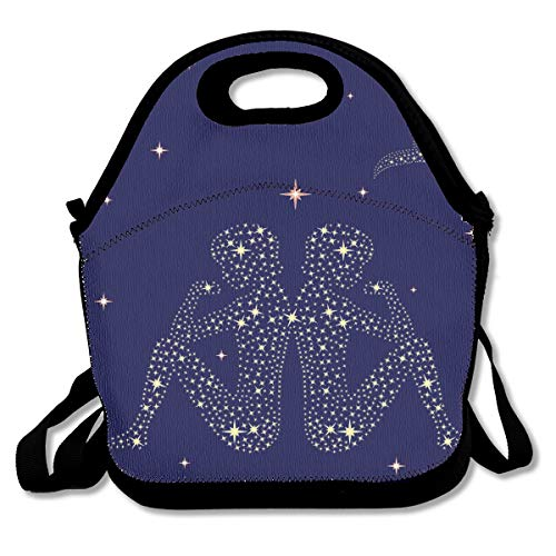 - Pattonef Zodiac Sign Gemini On The Starry Sky Customized Insulated Neoprene Lunch Bag Unisex Suitable for Office Workers