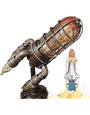 Steampunk Rocket Lamp met 4 E-12 gloeilampen tafellamp, retro rocket lamp steampunk stijl lamp, industriële racket lamp, creatief raketnachtlampje, jongen kind ruimtegeschenk