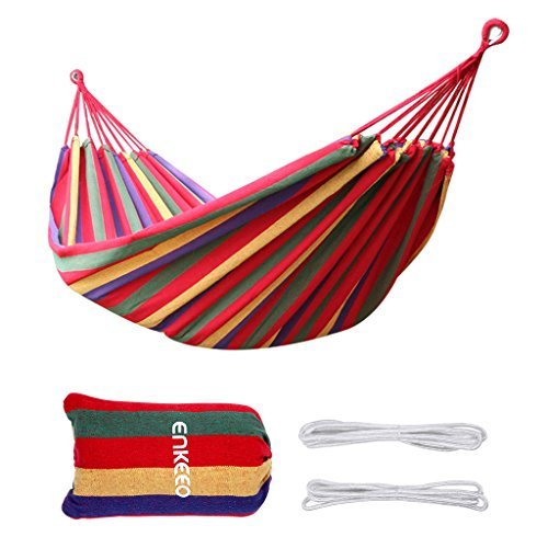 Enkeeo Portable Double Hammock for 2 Person Camping Backpacking Hiking,...