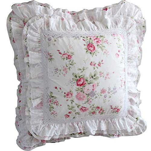 Queen's House Pink Roses Ruffle Decorative Pillow Shams Shabby Cottage French Lace Cushion Cover Euro Sham-Set of 2,F