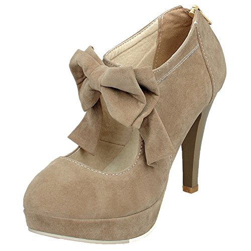 Women's Pumps HooH Suede Bowknot Platform High Heel Zipper Stiletto Wedding Pumps Beige curxAH2F6