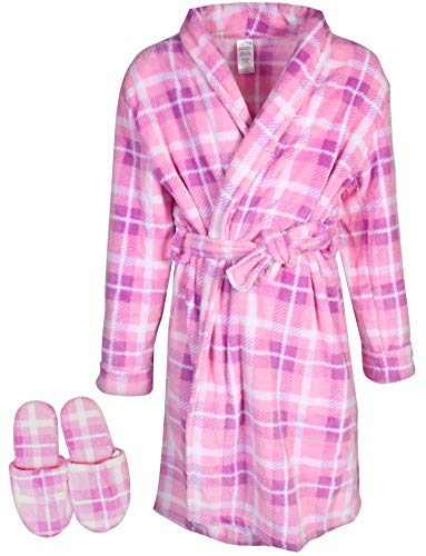 Sleep & Co Big Girls Fleece Robe with Slippers Set, Plaid Pink, 10/12'