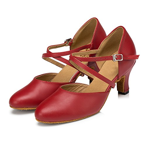 Latin Strap Salsa Cross Red Shoes 6cm Heel Women's Leather MINITOO Dance Ballroom IwqXxX