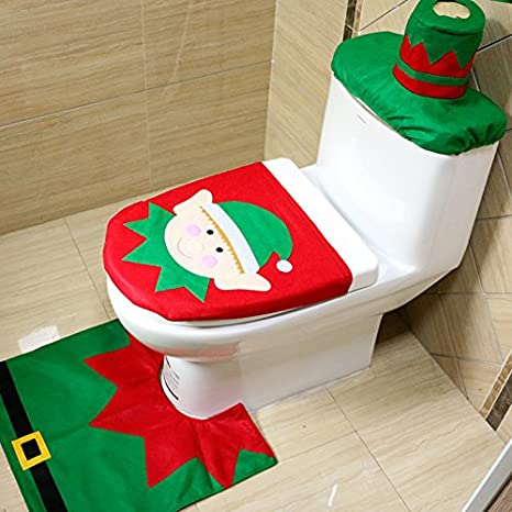 Jeda Christmas Decorations Elf Toilet Seat Cover and Rug Set 4 Pcs