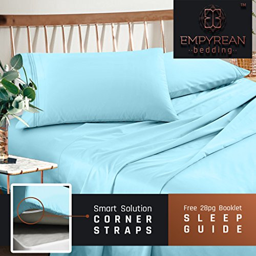 premium queen size sheets set light blue aqua hotel luxury 4piece bed set extra deep pocket special super fit fitted sheet best quality microfiber