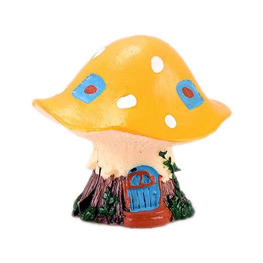 Cratoen - Figura Decorativa en Miniatura de Hada de jardín y Setas para casa de muñecas, Maceta para decoración del hogar, Amarillo, 4.2 * 3.8cm: Amazon.es: Hogar