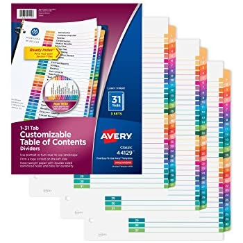 Avery Customizable Table of Contents Dividers, Ready Index, 1-31 Multicolor Tabs, Multi Pack of 3 Sets (44129)