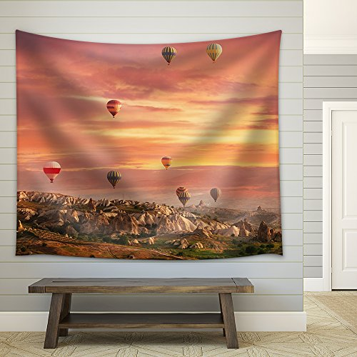 - wall26 - Multi-Colored Air Shata Fly Over Rocks in Cappadocia at Sunrise - Fabric Wall Tapestry Home Decor - 68x80 inches