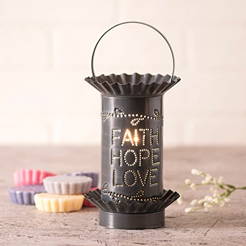 Mini Tartwarmer with Vertical Faith,Hope,Love in Country Tin by Irvin's Country Tinware
