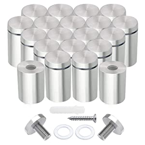 Stainless Steel Standoff Screws, 20Pcs 3/4 x 1 Inch Wall Standoff Sign Holders Screws, Mounting Glass Hardware for Hanging Acrylic Picture Frame, Advertising Screws Kit