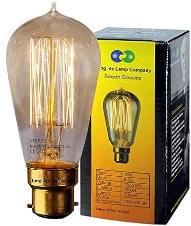Retro Style Edison Bulbs 40W B22 Bayonet Cap BC Vintage Filament Light Lamp 220V