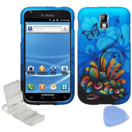 ((4 items Combo: Phone Stand, Screen Protector Film, Case Opener, Graphic Case) Blue Butterfly Orange Pink Green Color Flower Design Rubberized Snap on Hard Shell Cover Faceplate Skin Case for T-Mobile Samsung Galaxy SII T989 / Hercules)