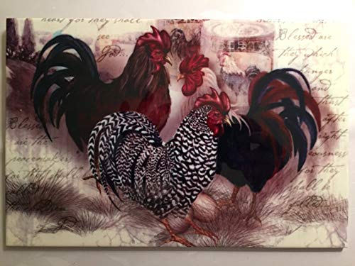 Decorative Ceramic Wall Art Tile Roosters Trio (F62) 8