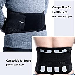 Back Support FREETOO Adjustable Lumbar Back Brace Lumbar Support Belt with Breathable Mesh and Dual Adjustable Straps for Lower Back Pain Relief for Sports - Black (L/XL)