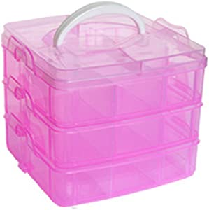 3 Tier Adjustable 18 Compartment Slot Plastic Craft Storage Box Jewellery Tool Container For Storing & Organising Sewing Embroidery Threads Bobbins Beads Beauty Supplies Nail Polish(Pink)