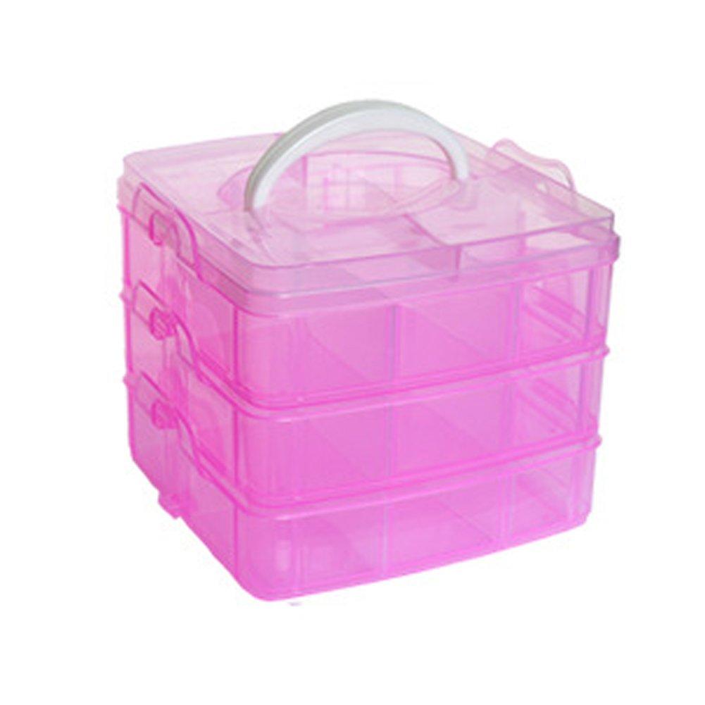 Hinmay 3 Tier Adjustable 18 Compartment Slot Plastic Craft Storage Box, Detachable Transparent Ornaments Desktop Storage Box Jewellery Tool Container (Blue)