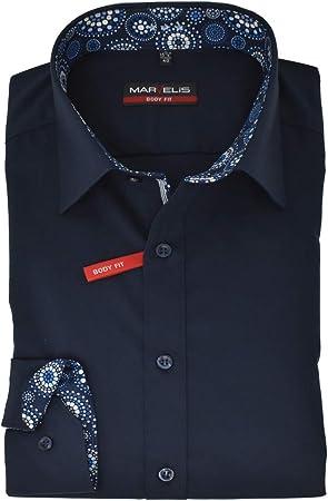 Marvelis Body Fit Camisa New Kent Cuello con ribete fácil de planchar Azul Oscuro puro algodón