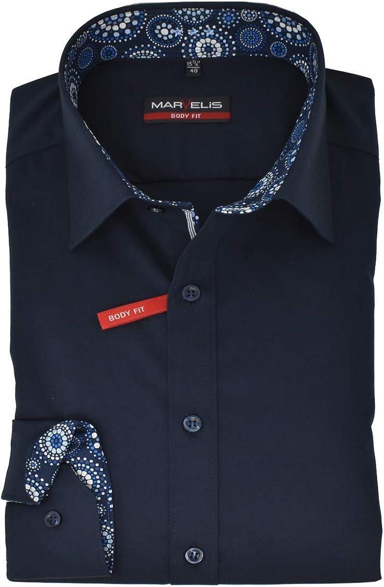 Marvelis Body Fit Camicia New Kent Colletto con Guarnizione Facile da Stirare Tinta Unita Blu Scuro Puro Cotone