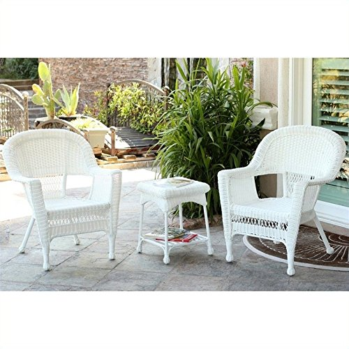 Jeco W00206_2-CES 3 Piece Wicker Chair and End Table Set Without Cushion, White -