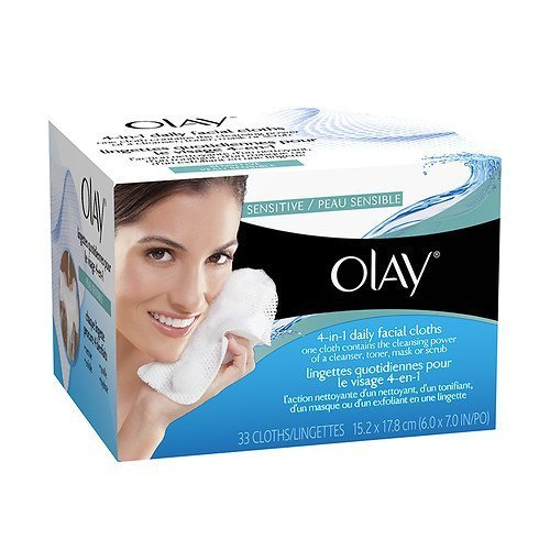 Olay 4-in-1 Daily Face Wipes, Sensitive 33 Ea
