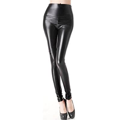 AB Fab Juniors Women High Waist Faux Leather Leggings, Black, Size XXL