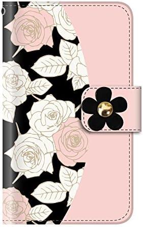デコパーツ 花柄 薔薇(手帳型)【01.ライトピンク(黒)】 iPhone SE 第2世代 (2020) / iPhone8 手