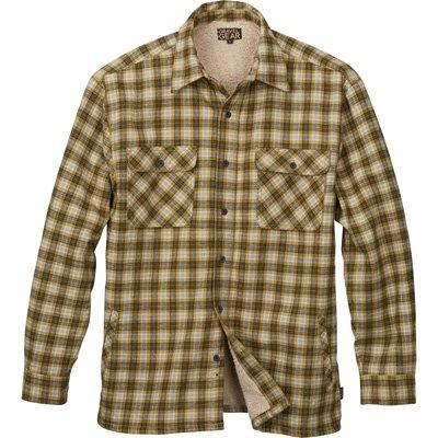 - Gravel Gear Sherpa Lined Flannel Shirt Jacket - Moss/Navy, XL