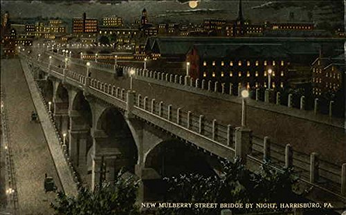 New Mulberry Street Bridge by Night Harrisburg, Pennsylvania Original Vintage ()