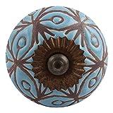 Set of 12 IndianShelf Handmade Turquoise Pull Floral Etched Ceramic Handle Door Knobs New Design
