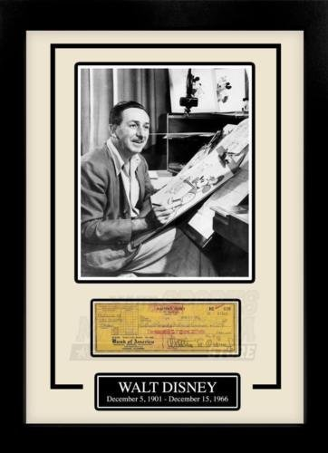 Signed Framed Check - Walt Disney Facsimile Signed Autographed Personal Check Framed 8x10 Display